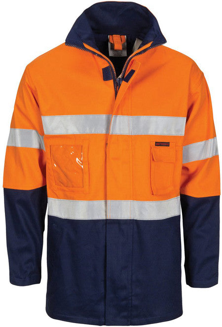 "Hi Vis Cotton Drill ""2 in 1"" Jacket with Generic Reflective Tape (3767) - Ace Workwear"