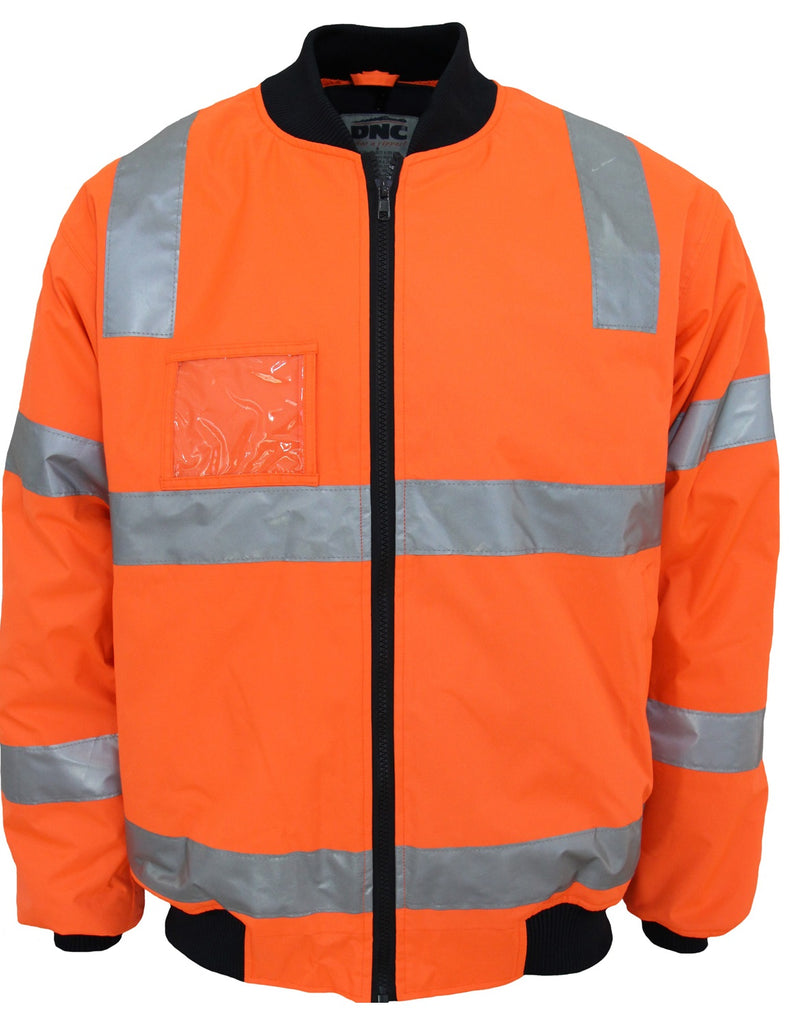 "DNC HiVis ""Hoop"" Pattern Flying Jacket Biomotion Tape (3769) - Ace Workwear"