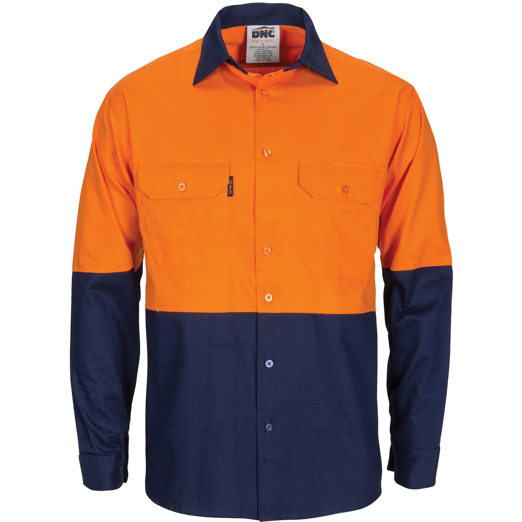 Hi Vis R/W Cool-Breeze T2 Vertical Vented Cotton Shirt with Gusset Sleeves (3781) - Ace Workwear