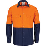 DNC Hi Vis R/W Cool-Breeze T2 Vertical Vented Cotton Shirt with Gusset Sleeves (3781) - Ace Workwear