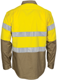 DNC Hi Vis Cool-Breeze T2 Vertical Vented Cotton Shirt with Gusset Sleeves (3784) - Ace Workwear