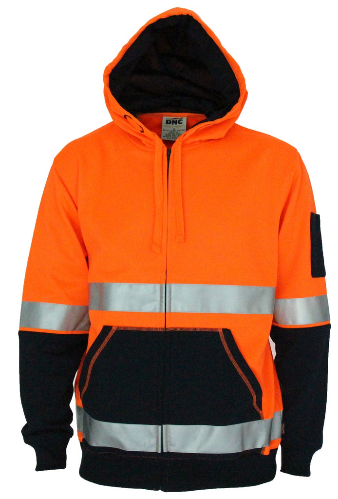 DNC Hivis Two Tone Full Zip Super Fleecy Hoodie with CSR R/Tape (3788) - Ace Workwear