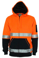DNC Hivis Two Tone Full Zip Super Fleecy Hoodie with CSR R/Tape (3788)