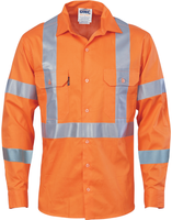 Hi Vis NSW Rail Complaint Cotton Shirt With X Reflective Tape on Back Long Sleeve (3789) - Ace Workwear
