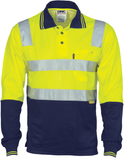DNC Hi Vis Two Tone Cotton Back Polo Shirt with Reflective Tape Long Sleeve (3818) - Ace Workwear (10722236109)