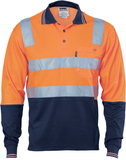 Hi Vis Two Tone Cotton Back Polo Shirt with Reflective Tape Long Sleeve (3818) - Ace Workwear
