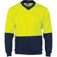 DNC HiVis Two Tone Fleecy Sweat Shirt (Sloppy Joe) V-Neck (3822) - Ace Workwear