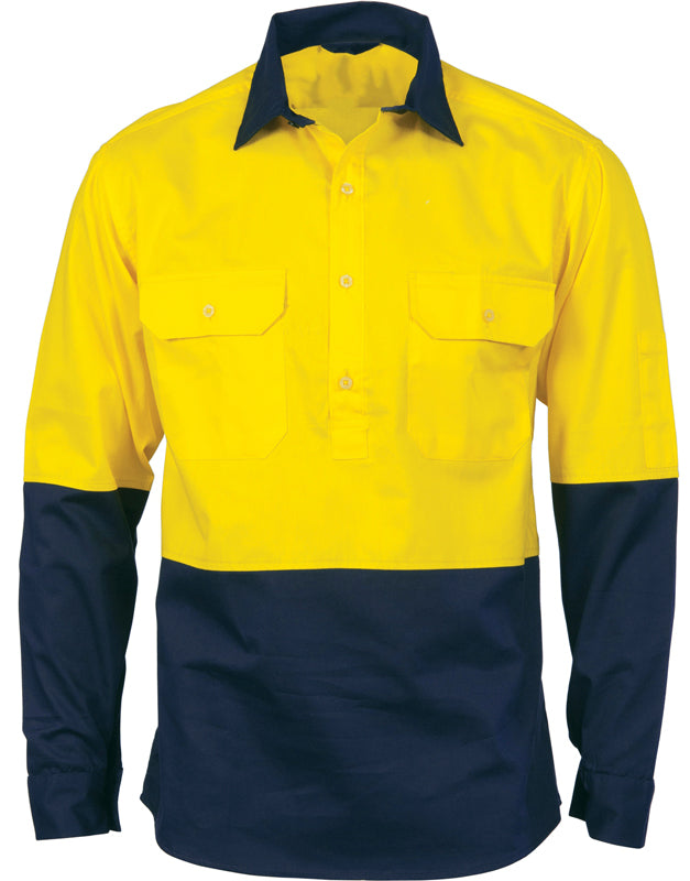 Hi Vis Light Weight Close Front Cotton Drill Shirt Long Sleeve (316) - Ace Workwear