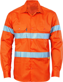 Hi Vis Cotton Drill Shirt with 3M Reflective Tape Long Sleeve (3835) - Ace Workwear