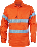 Hi Vis Light Weight Close Front Cotton Drill Work Shirt with Reflective Tape Long Sleeve (317) - Ace Workwear