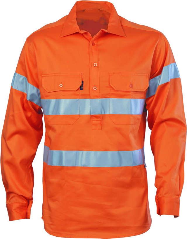 Hi Vis Close Front Cotton Drill Shirt with 3M Reflective Tape Long Sleeve (3848) - Ace Workwear