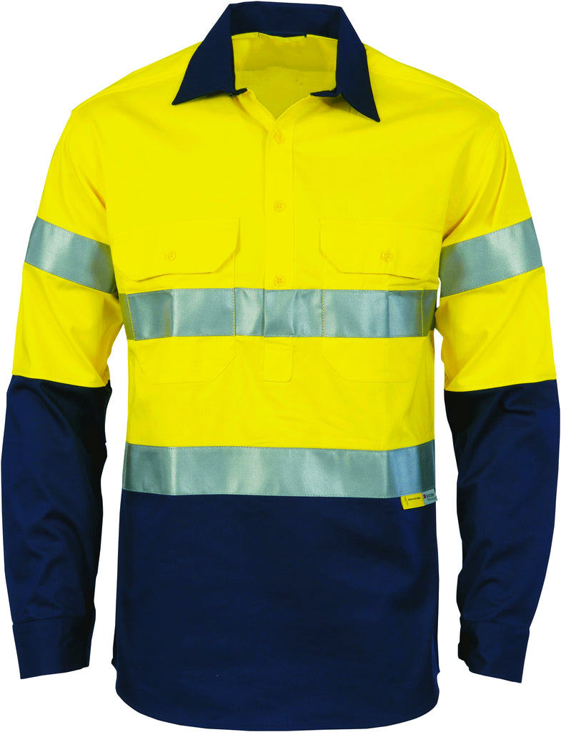 Hi Vis Close Front Cotton Drill Shirt with Reflective Tape Long Sleeve (3849) - Ace Workwear
