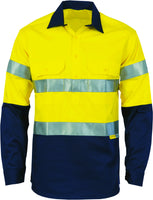 Hi Vis Close Front Cotton Drill Shirt with Reflective Tape Long Sleeve (314) - Ace Workwear