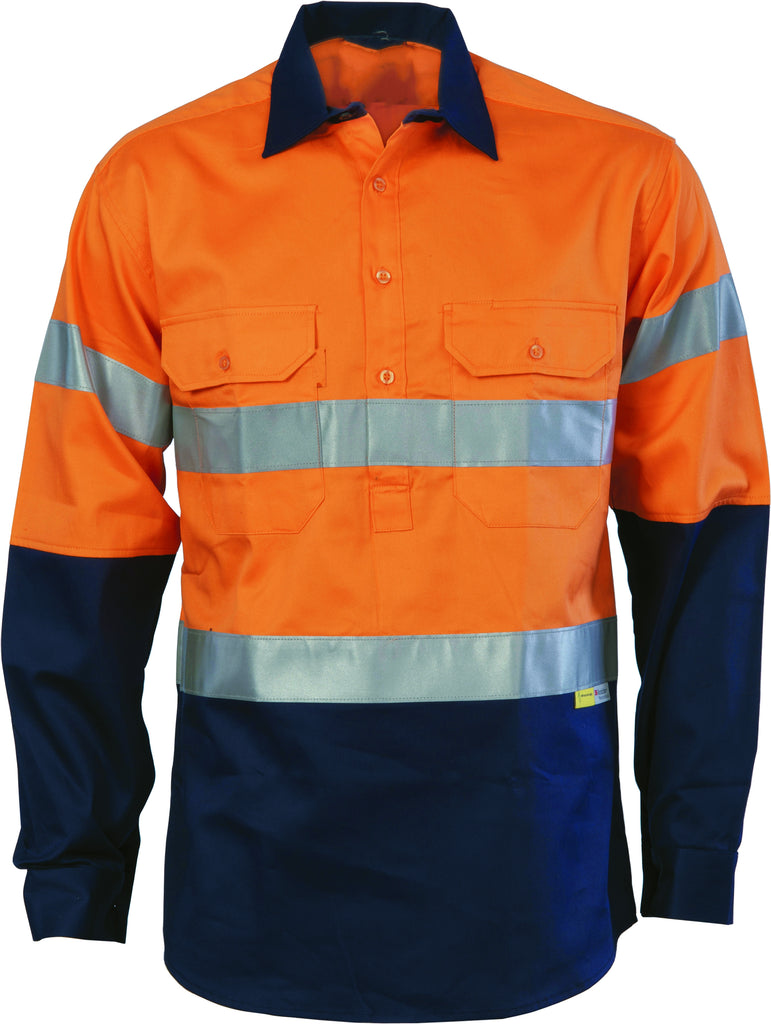 Hi Vis Light Weight Close Front Cotton Drill Shirt with Reflective Tape Long Sleeve (3949) - Ace Workwear