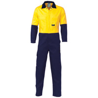 DNC Hi Vis Cool Breeze 2 Tone Light Weight Cotton Coverall/Overall (3852) - Ace Workwear