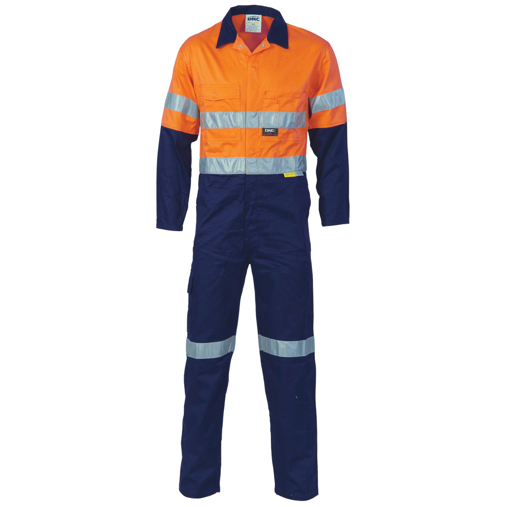 Hi Vis Two Tone Cotton Coverall/Overall With 3M Reflective Tape (3855) - Ace Workwear