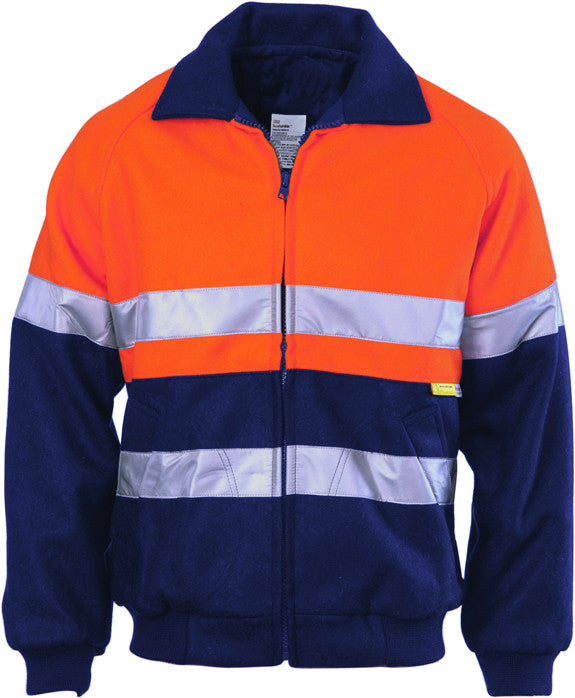 Hi Vis Two Tone Bluey Bomber Jacket with CSR Reflective Tape (3859) - Ace Workwear