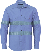Cotton Chambray Shirt with Generic R/Tape Long sleeve (3889) - Ace Workwear