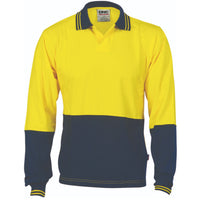 DNC Hi Vis Cool Breeze Cotton Jersey Food Industry Polo Long Sleeve (3906) - Ace Workwear