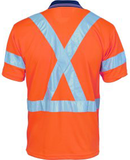 Hivis D/N Cool Breathe Polo Shirt With Cross Back R/Tape Short Sleeve (3912) - Ace Workwear