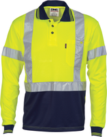 Hi Vis D/N Cool-Breathe Polo Shirt With Cross Back R/Tape Long Sleeve (3914) - Ace Workwear