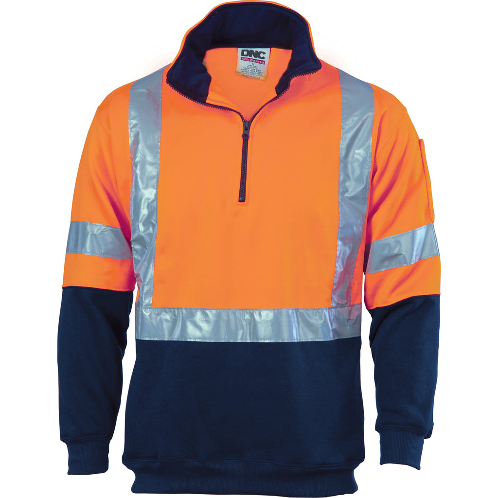 DNC HiVis 1/2 Zip Fleecy with 'X' Back & additional Tape on Tail (3930) - Ace Workwear