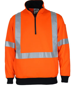 DNC Hi-vis 1/2 Zip X Back Fleecy Jumper (3933) - Ace Workwear