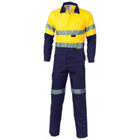 DNC Hi Vis Cool Breeze Two Tone Light Weight Cotton Coverall/Overall with 3M Reflective Tape (3955) - Ace Workwear
