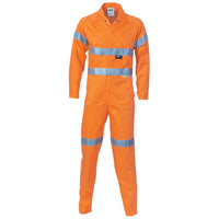 DNC Hi Vis Cool Breeze Orange Light Weight Cotton Coverall/Overall with 3M Reflective Tape (3956) - Ace Workwear
