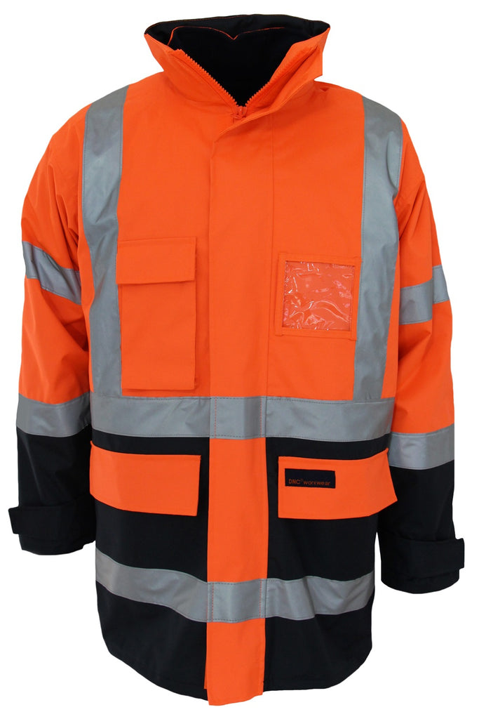 "DNC HiVis ""H"" Pattern Two Tone Biomotion Tape ""6 in 1"" Jacket (3964) - Ace Workwear"