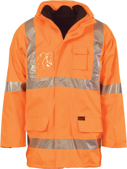 "Hi Vis Cross Back Day & Night ""6 in 1"" Rain Jacket (3999) - Ace Workwear"