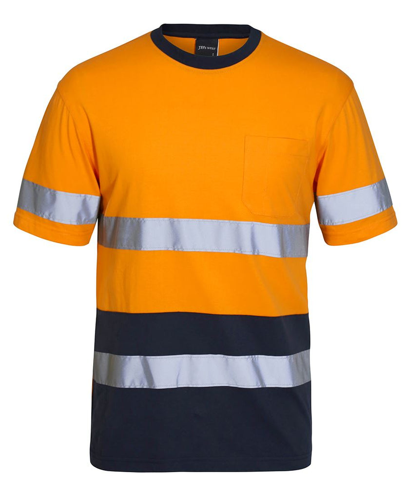 JB's Hi Vis Crew Neck Cotton T-shirt With Reflective Tape - Ace Workwear