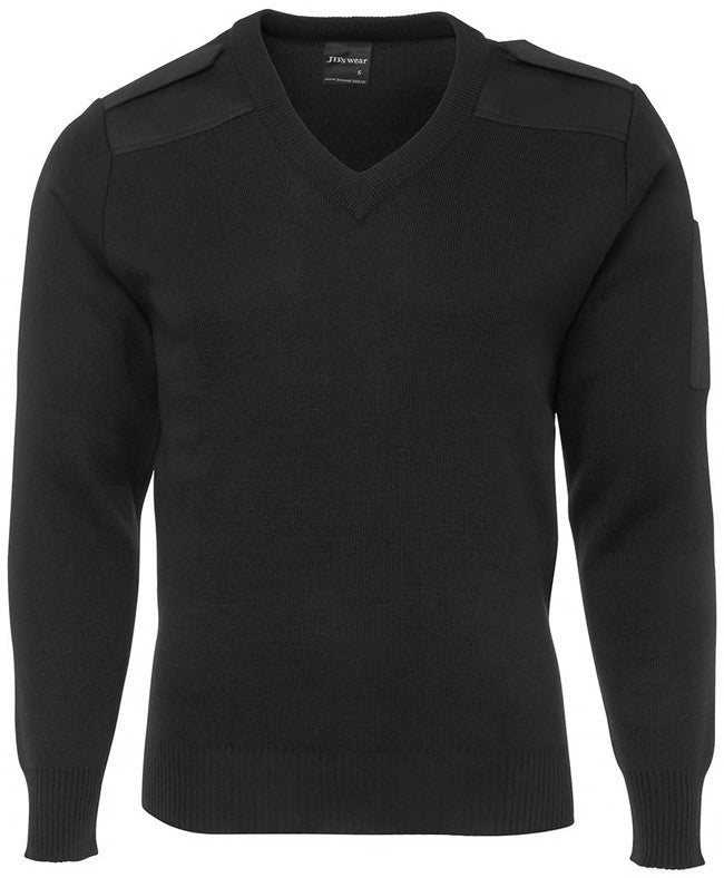 Adults Knitted Epaulette Jumper Front - Black
