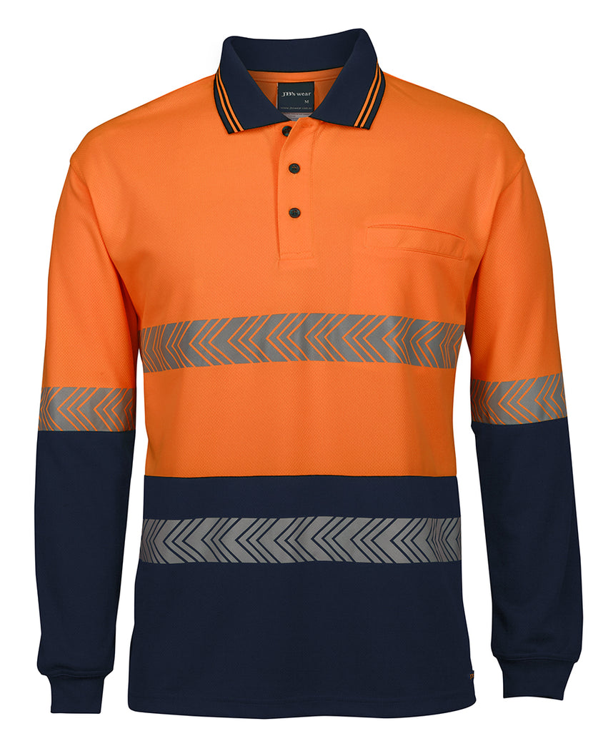 JB's Hi Vis Long Sleeve Segmented Tape Polo (6HLST) - Ace Workwear