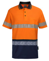 JB's Hi Vis (D+N) Cotton Back S/S Segmented Tape Polo (6HMSS)