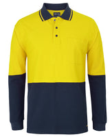 JB's Hi Vis L/S Cotton Pique Trad Polo (6HVQL) - Ace Workwear