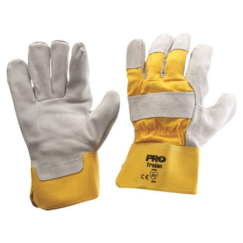 Pro Choice Yellow/Grey Leather Gloves Large - Pack (12 Pairs) (940GY) - Ace Workwear