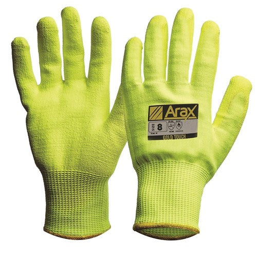 Pro Choice Arax® Gold Hi-Vis Yellow With Hi-Vis Yellow PU Palm- Pack (12 Pairs) (AFYPU) - Ace Workwear