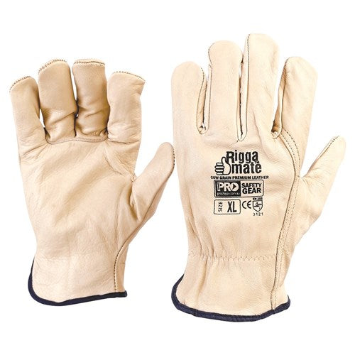 Pro Choice Riggamate Beige Premium Cowgrain Gloves - Pack (12 Pairs) (CGL41B) - Ace Workwear