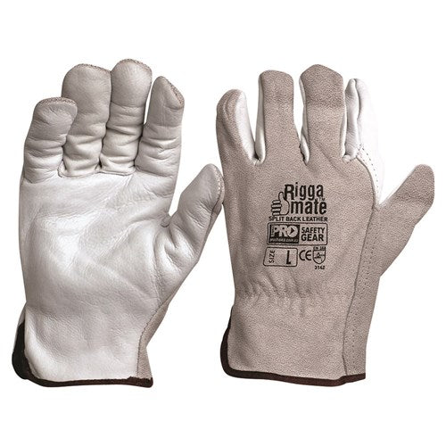 Pro Choice Riggamate Natural Cowgrain Palm / Split Back Gloves - Pack (12 Pairs) (CGL41NSB) - Ace Workwear