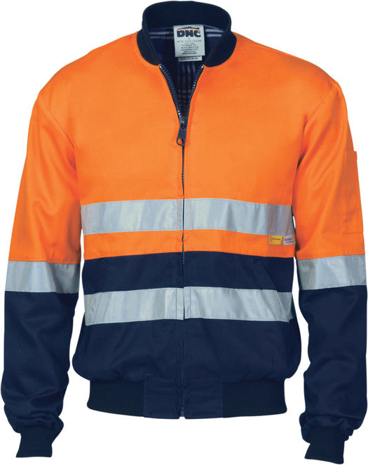 Hi Vis Day & Night Cotton Bomber Jacket With 3M Reflective Tape (3758) - Ace Workwear