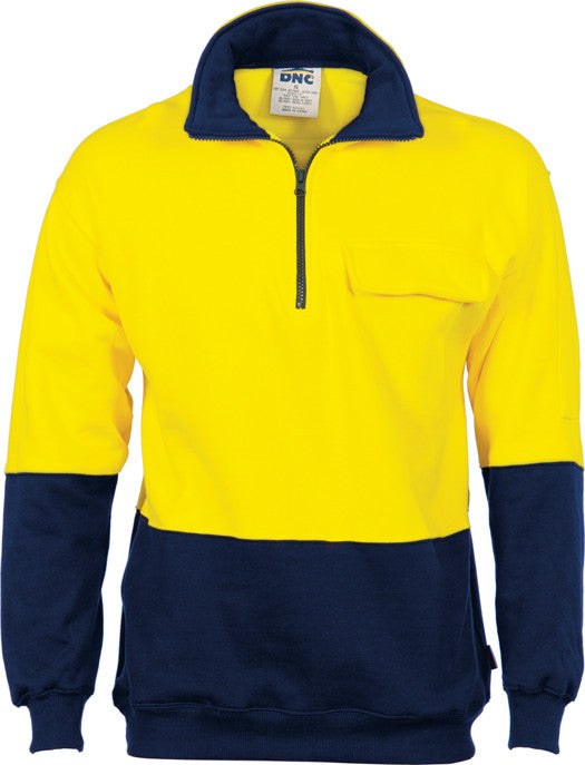 Hi Vis 1/2 Zip Cotton Fleecy Windcheater (3923) - Ace Workwear