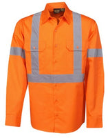 Hi Vis Light Weight Cotton Drill Work Shirt with Back X Tape Long Sleeve (C95) - Ace Workwear