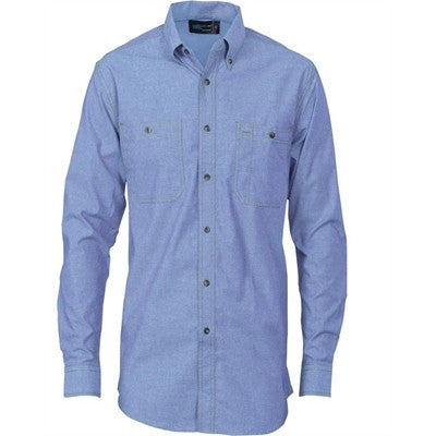 DNC Cotton Chambray Shirt With Twin Pocket Long Sleeve (4102) - Ace Workwear (8500175565)
