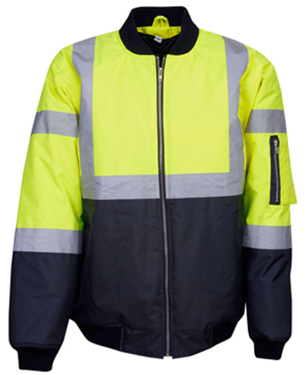 Hi Vis Day/Night Flying Jacket With Reflective Tape (J83) - Ace Workwear