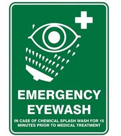 Pratt Emergency Eyewash Sign (PS3CP) 450mm x 300mm Poly (EEMEW4530P) - Ace Workwear (4425691529350)