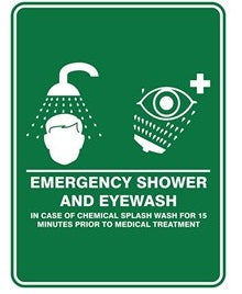 Pratt Emergency Shower & Eyewash Sign (PS6CP) 450mm x 300mm Poly (EESAE4530P) - Ace Workwear
