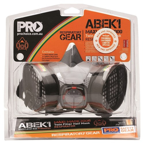 Pro Choice Safety Gear Assembled Half Mask With ABEK1 Cartridges (HMABEK1)