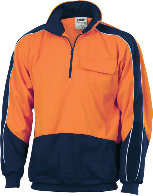 Hi Vis 2 Tone 1/2 Zip Hi-Neck Panel Fleecy Windcheater (3823) - Ace Workwear