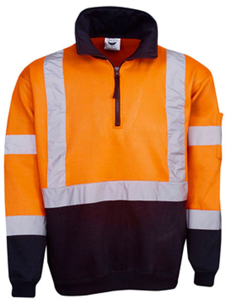 Hi Vis Day & Night Fleecy Jumper Cross Back Tape (F96) - Ace Workwear